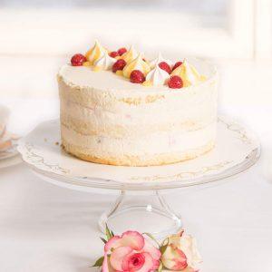 Lemon curd rahkamousse-vadelma naked cake