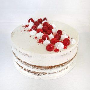 Vadelma-vaniljarahkamousse naked cake